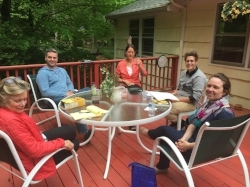 The deck at the Big Oak Psychotherapy Training Institute allows for feedback in small groups during consultation hours.