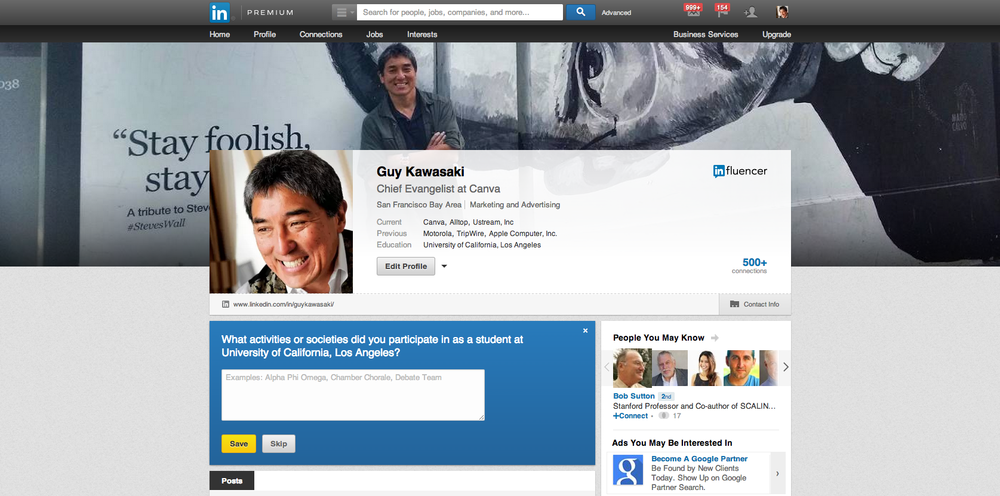 Guy Kawasaki's Profile with the new Custom Background Image