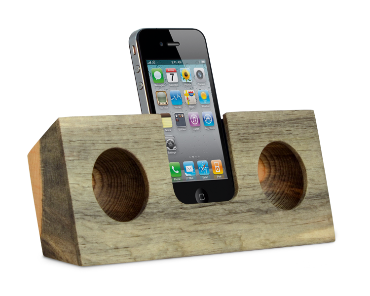 No wires..but big sound. This complete wireless system will increase your iPhone's volume 2 to 4 times. The Original comes in 5 different wood flavors. You are looking at the Beetle Kill Pine.