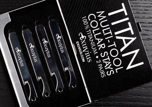 Be well-dressed and prepared like a secret agent with Titan Multi-Tool Collar Stays. These featherweight titanium collar stays keep your collar looking sharp, and are virtually indestructible. Conveniently fix gadgets, eliminate loose threads, and open bottles at a moment's notice. Feel confident that you'll be suited to handle unexpected situations as they arise.