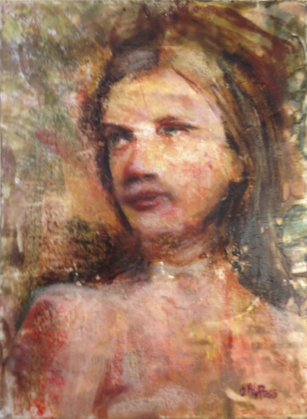 """Katherine"", 12"" x 9"", Encaustic on Panel, © V.N.Ross"