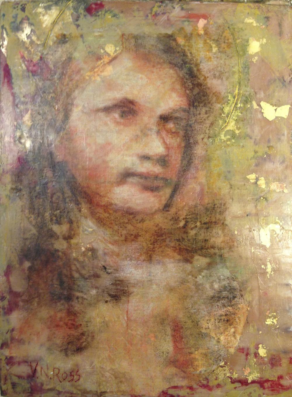"""Katherine Reflected"", 12"" x 9"", Encaustic, Collage, Gold Leaf on Panel"
