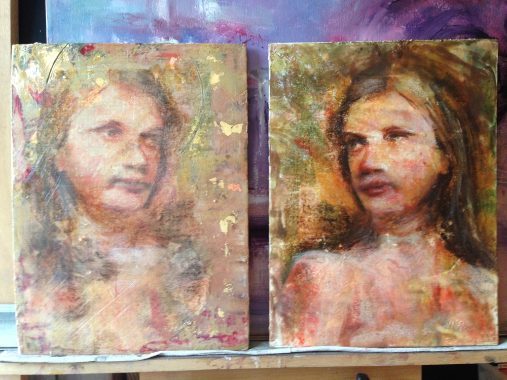 The finished paintings, side by side.