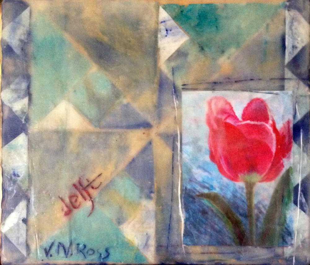 """Delft"" 7"" x 6"", Encaustic and collage on panel"