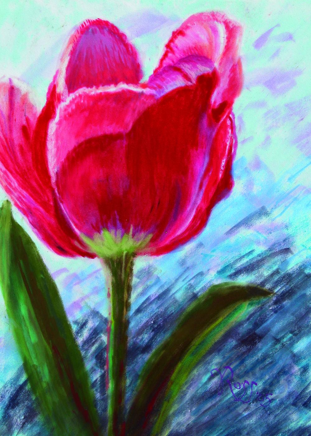 """""""Tulip"""", 12"""" x 9"""", pastel on EVA foam"""