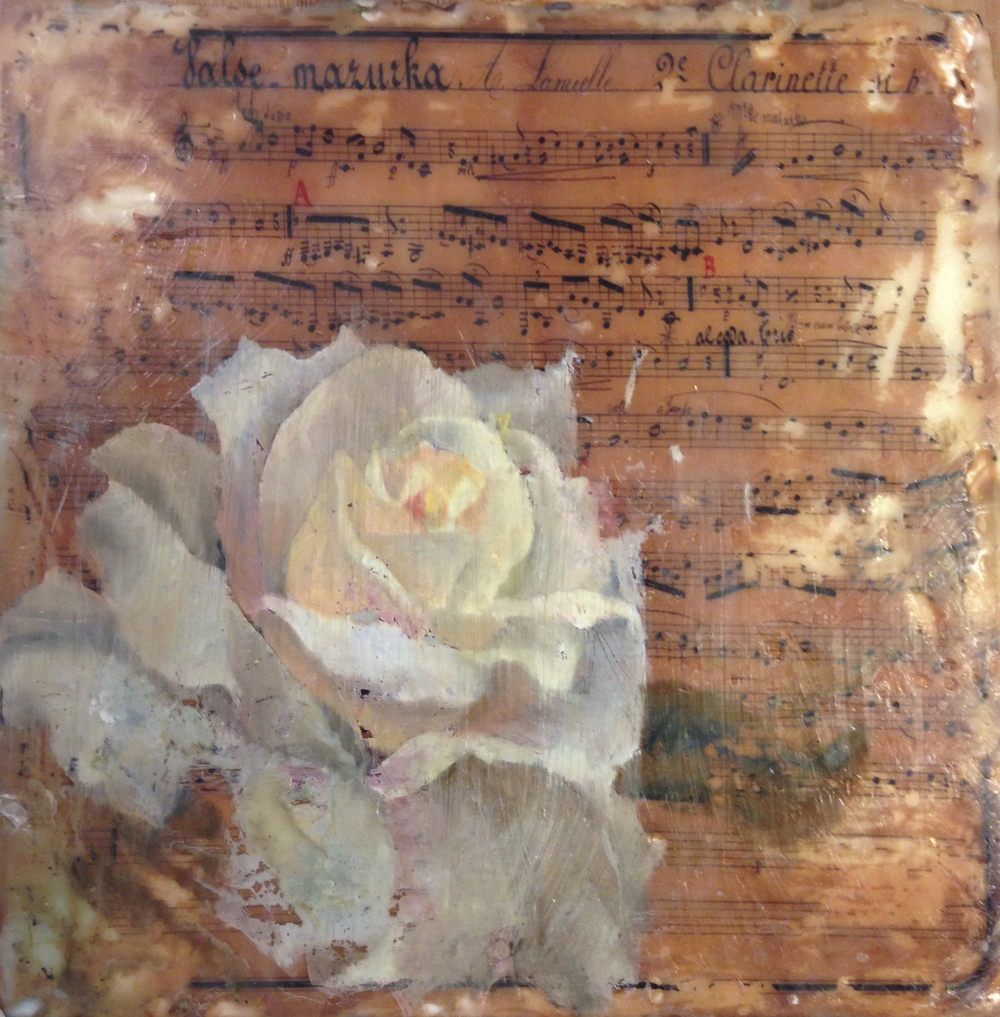 """White Rose, Encaustic, Xerography, Oil on mounted paper, 7""""x7"""" $245 Available HERE. Will be on exhibit downtown Bentonville at pop-up art show, Majesty Gallery on the square, Oct. 4 and 5."""