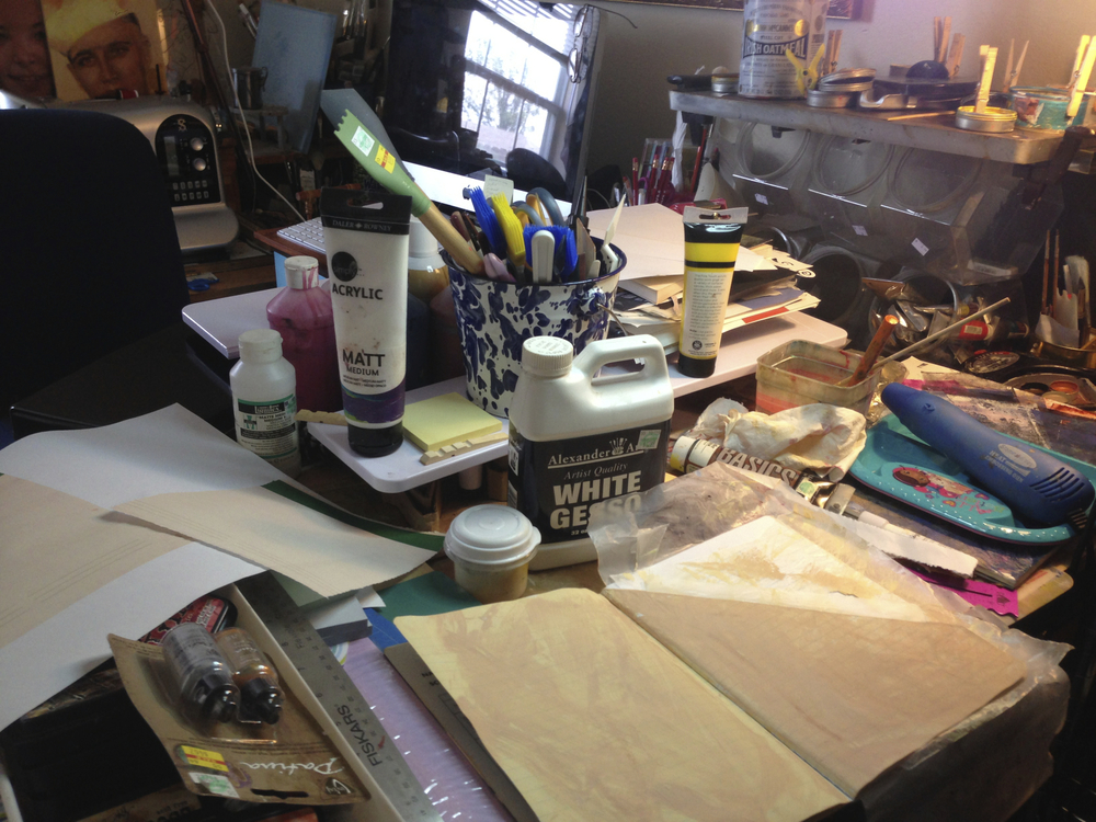 the Mixed Media/Encaustic station