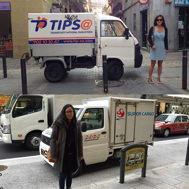 "@sarah_j_woo just sent me the top photo from a trip to Barcelona in 2012 ""Another time you used me as a ruler to measure a short truck."" ...Four years later in Kyoto I knew that feeling of dejavu had to have been real! .. #travel #shortbus #barcelona #kyoto"