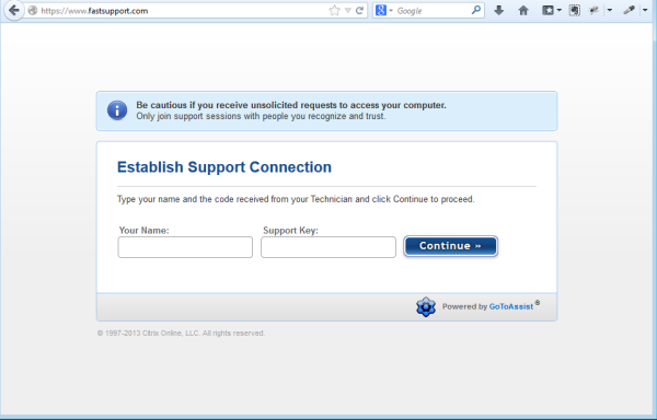 GoToAssist website screen you will see to establish remote support connection