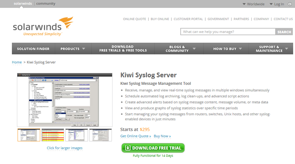 Wiki SysLog Server website