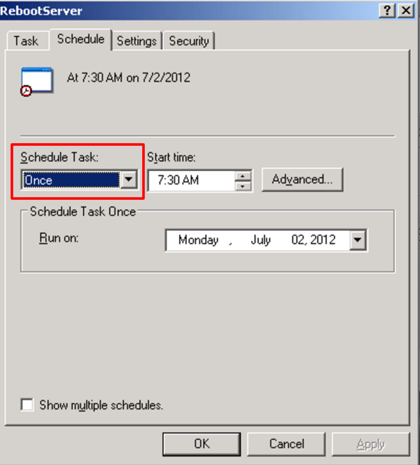 Sample Scheduled Task Schedule Tab