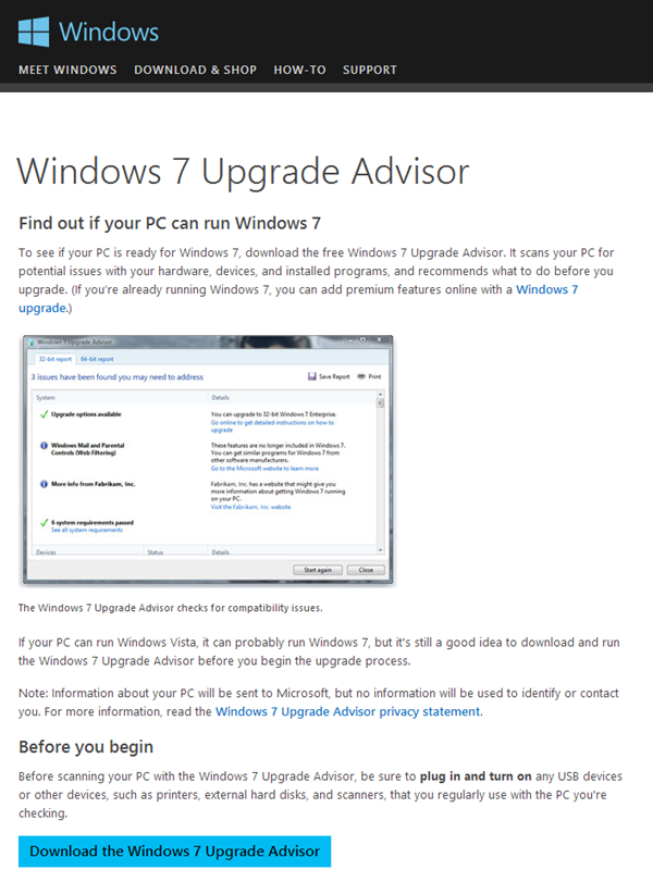 Windows 7 Upgrade Advisor Download Website
