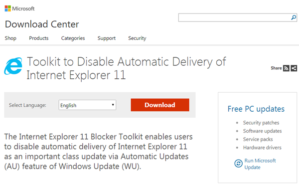 Toolkit to Disable Automatic Delivery of Internet Explorer 11