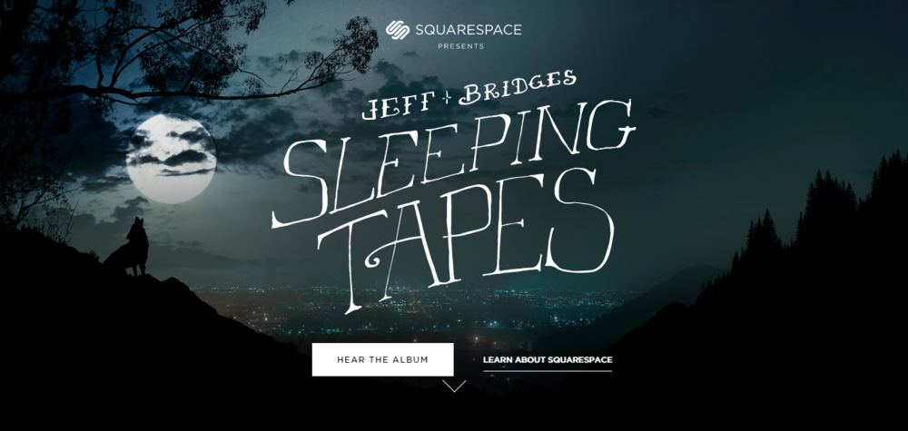 Jeff Bridges Sleeping Tapes official website built in Squarespace 7.0
