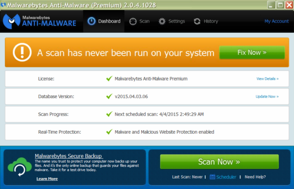 What your malwarebytes should look like once updated. It should have Database v2015.04.02.07 or newer