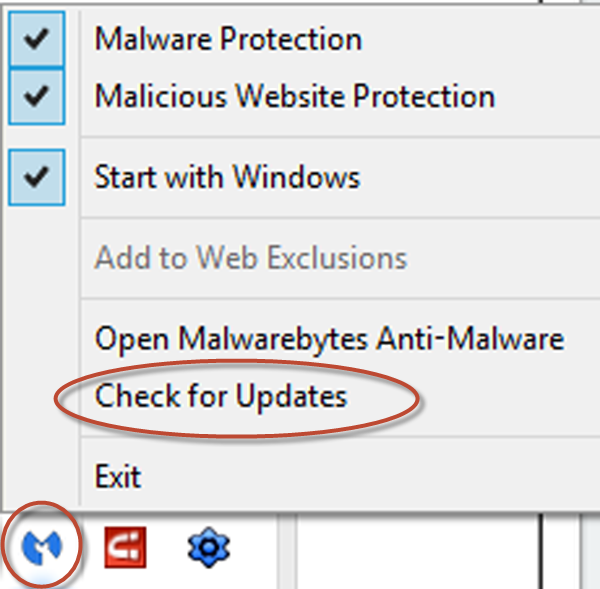 To update Malwarebytes, right click on the Malwarebytes icon on the lower right of your computer screen, and select Check Updates.