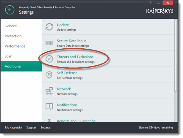Accessing Kaspersky Threats and Exclusions