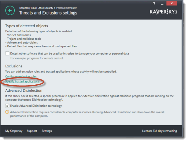 Specifying Trusted Applications for Remote Control Access to Kaspersky user interface