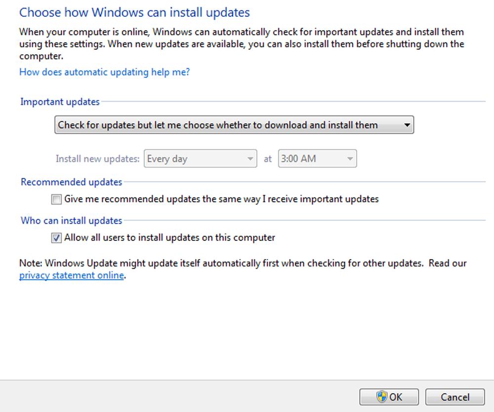 Windows Update Settings Screen
