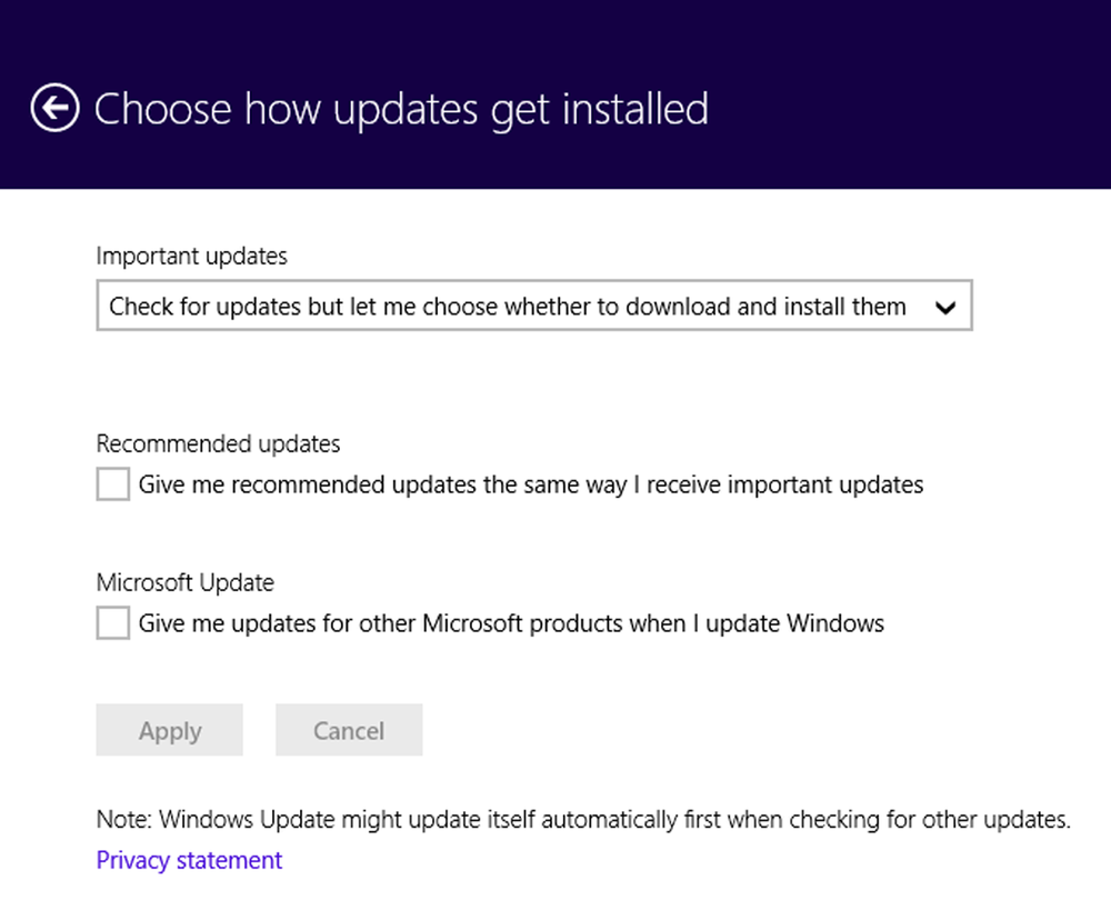 Update Configuration Screen