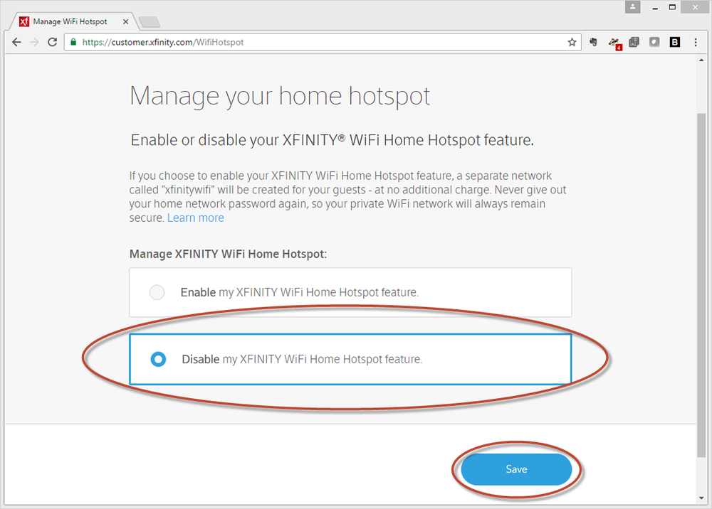 "Select ""Disable my XFINITY Home Spot Feature"" and press Save"