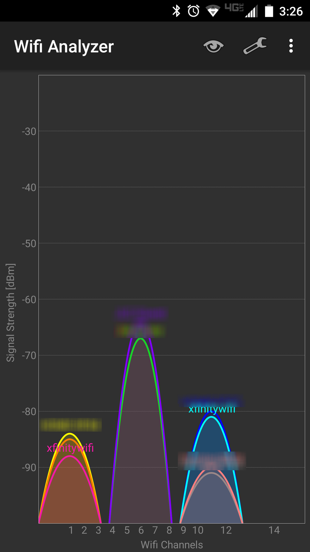 Android WIFI Analyzer showing Xfinity hotspots
