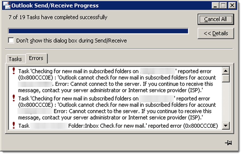 Outlook 2007 Send/Receive Error