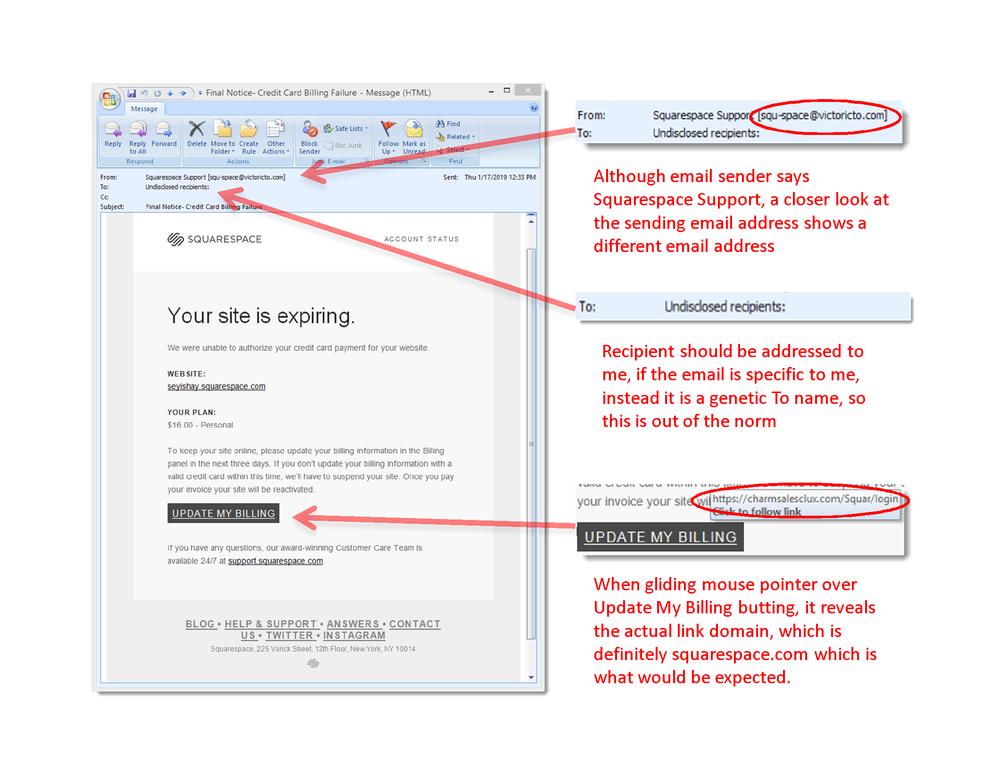 Fake squarespace phishing email