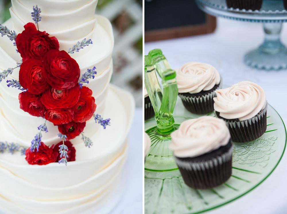 garden wedding dessert table