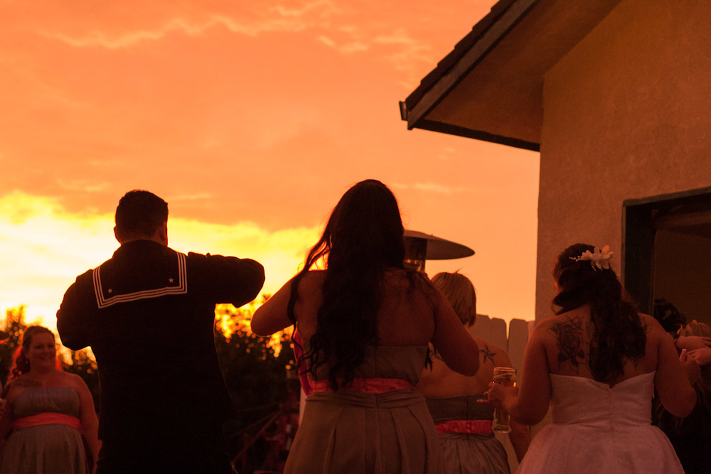 sunset dance party wedding