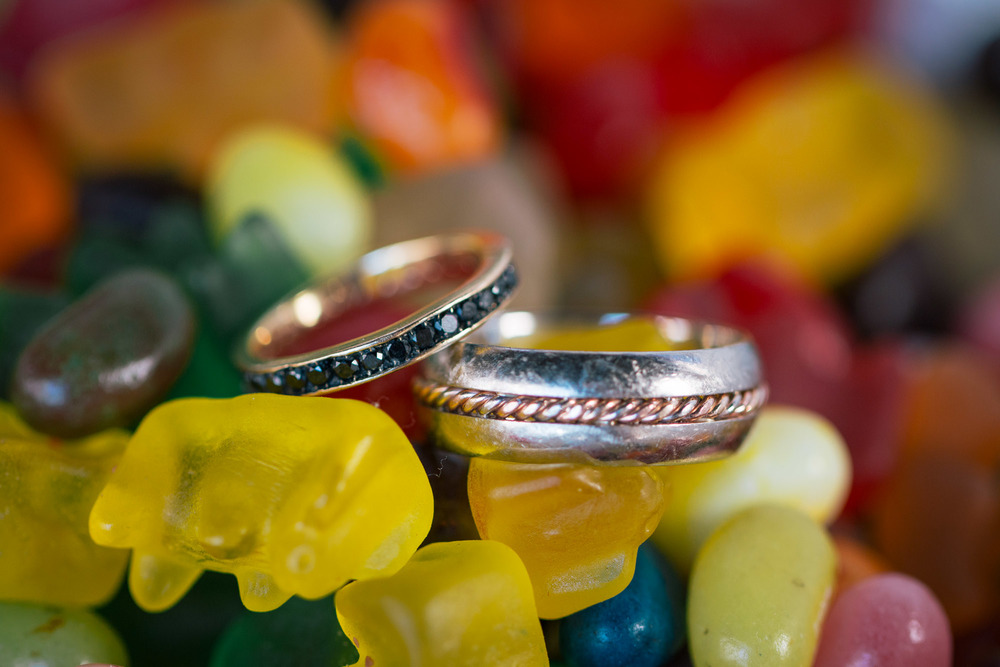 wedding rings on candy