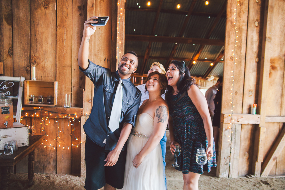bride and guests selfie