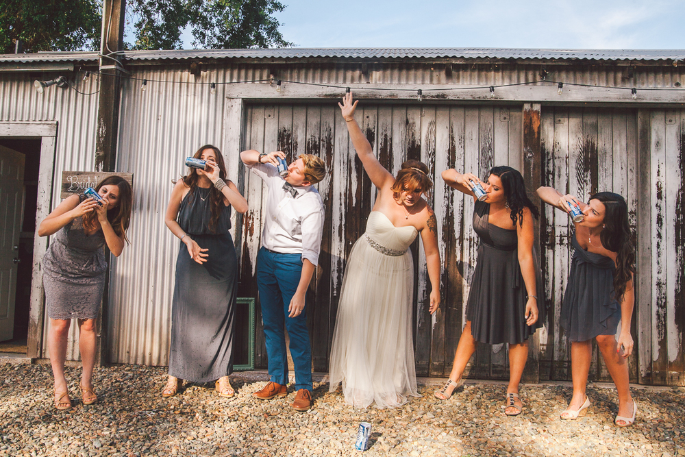 bride shotgunning beer
