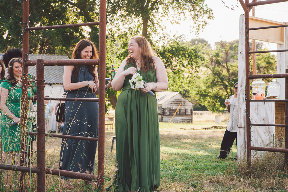green and grey bridesmaid dresses