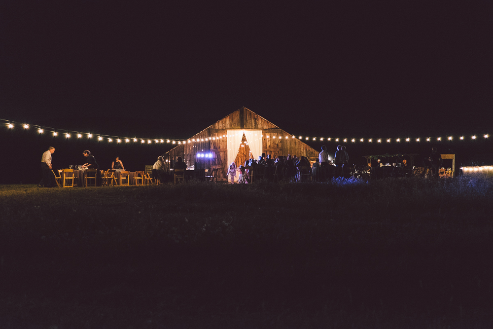 barn wedding after dark