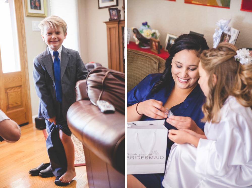 ring bearer in blue tie