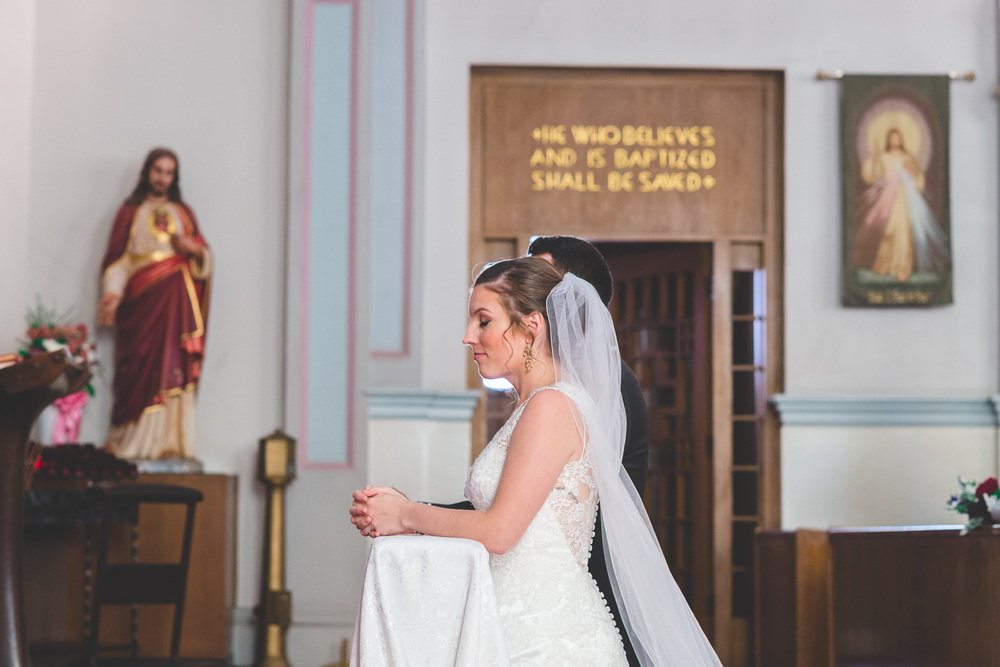 bride in catholic prayer