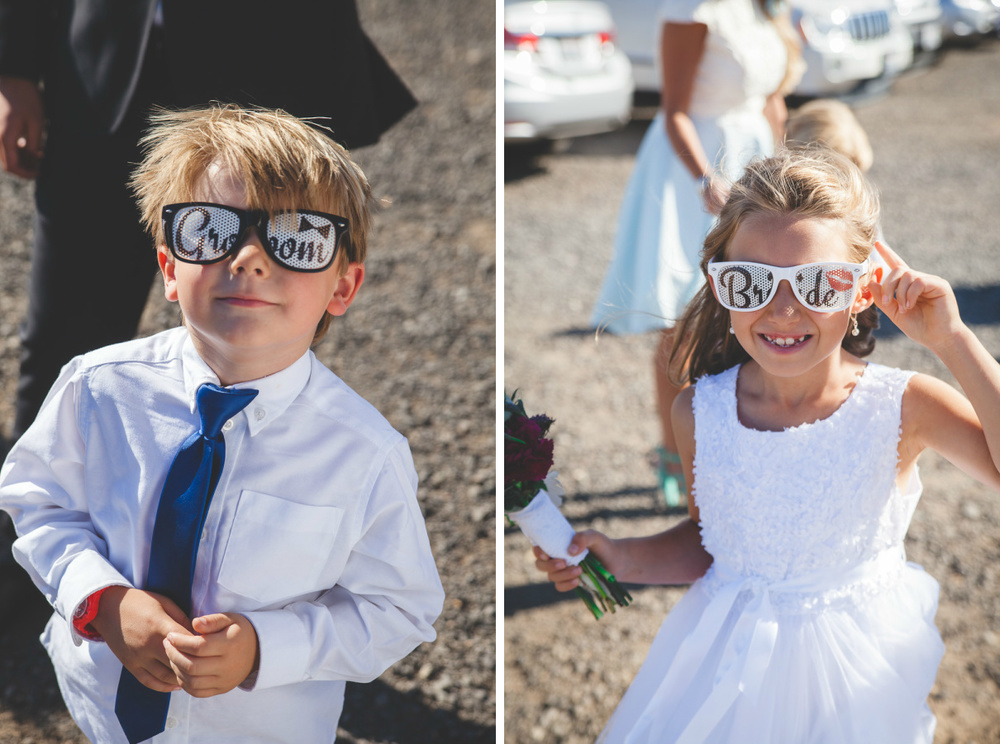 groom and bride sunglasses