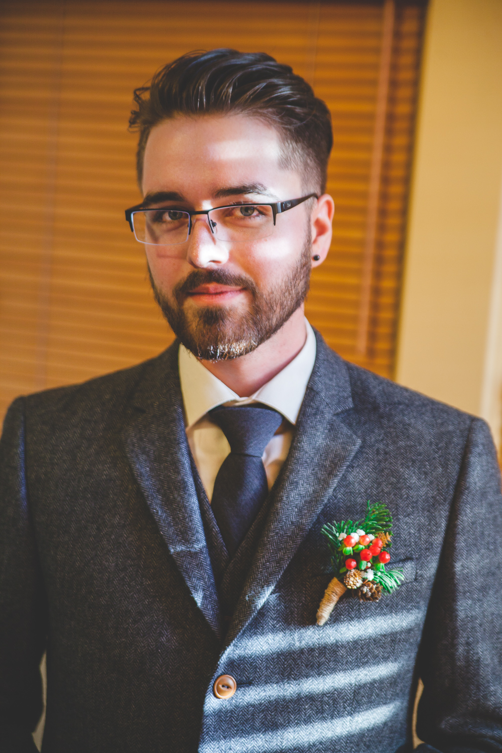 winter wedding groom
