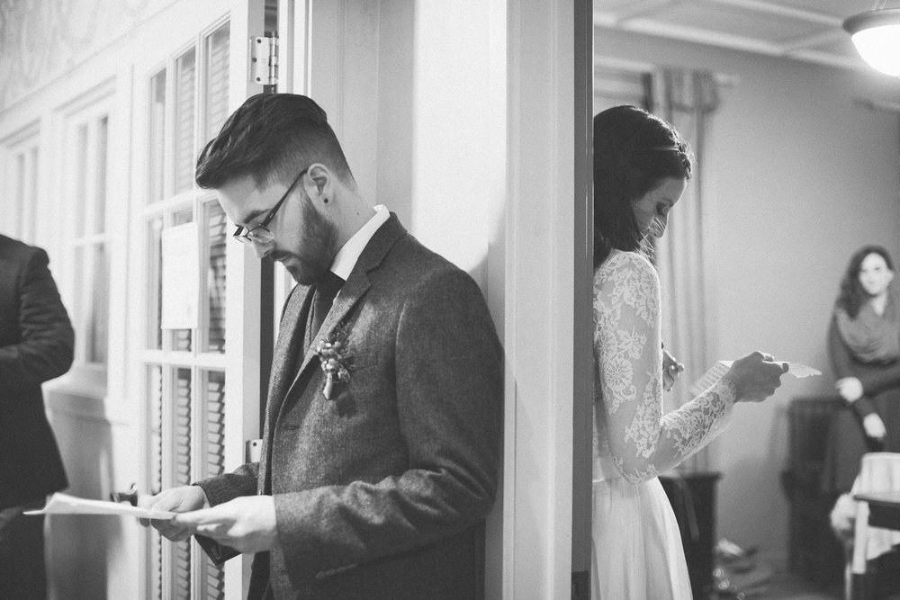 bride and groom exchanging letters