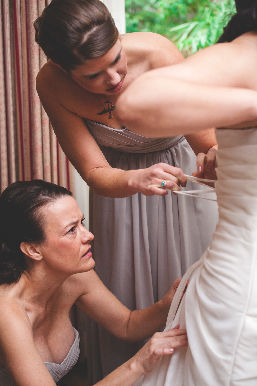 lacing a corset wedding dress