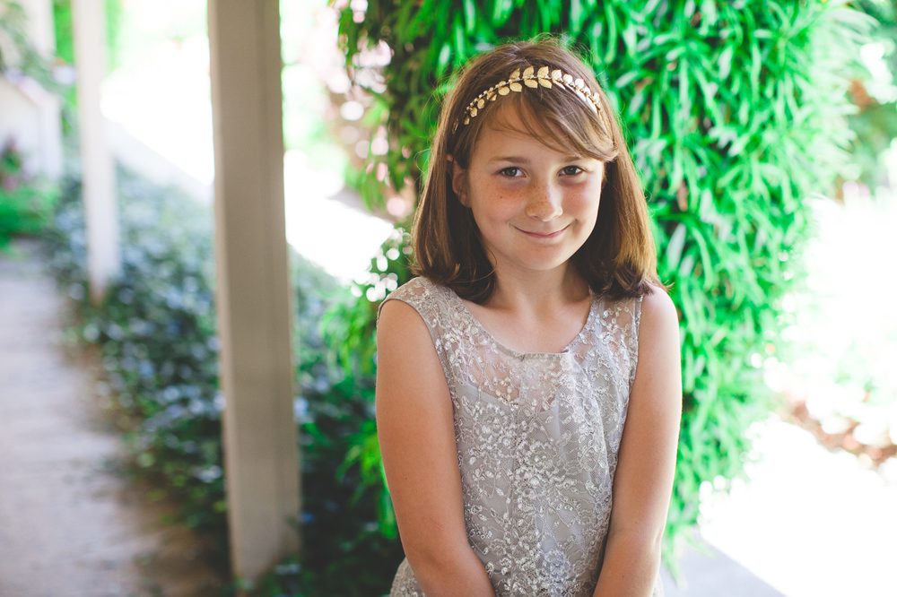 silver and gold flower girl