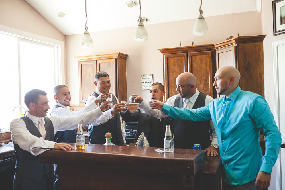 groomsmen pre wedding toast
