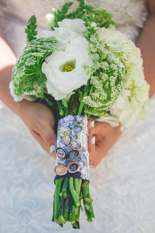 lockets on bouquet