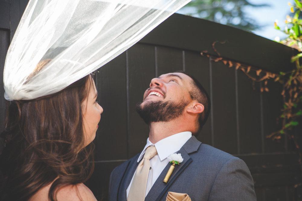 bride veil flying away