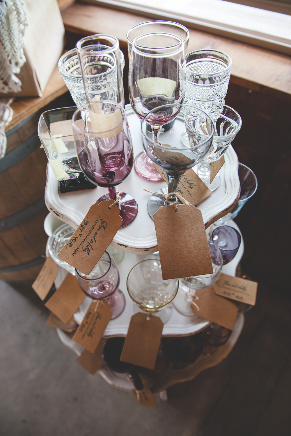purple wedding glass