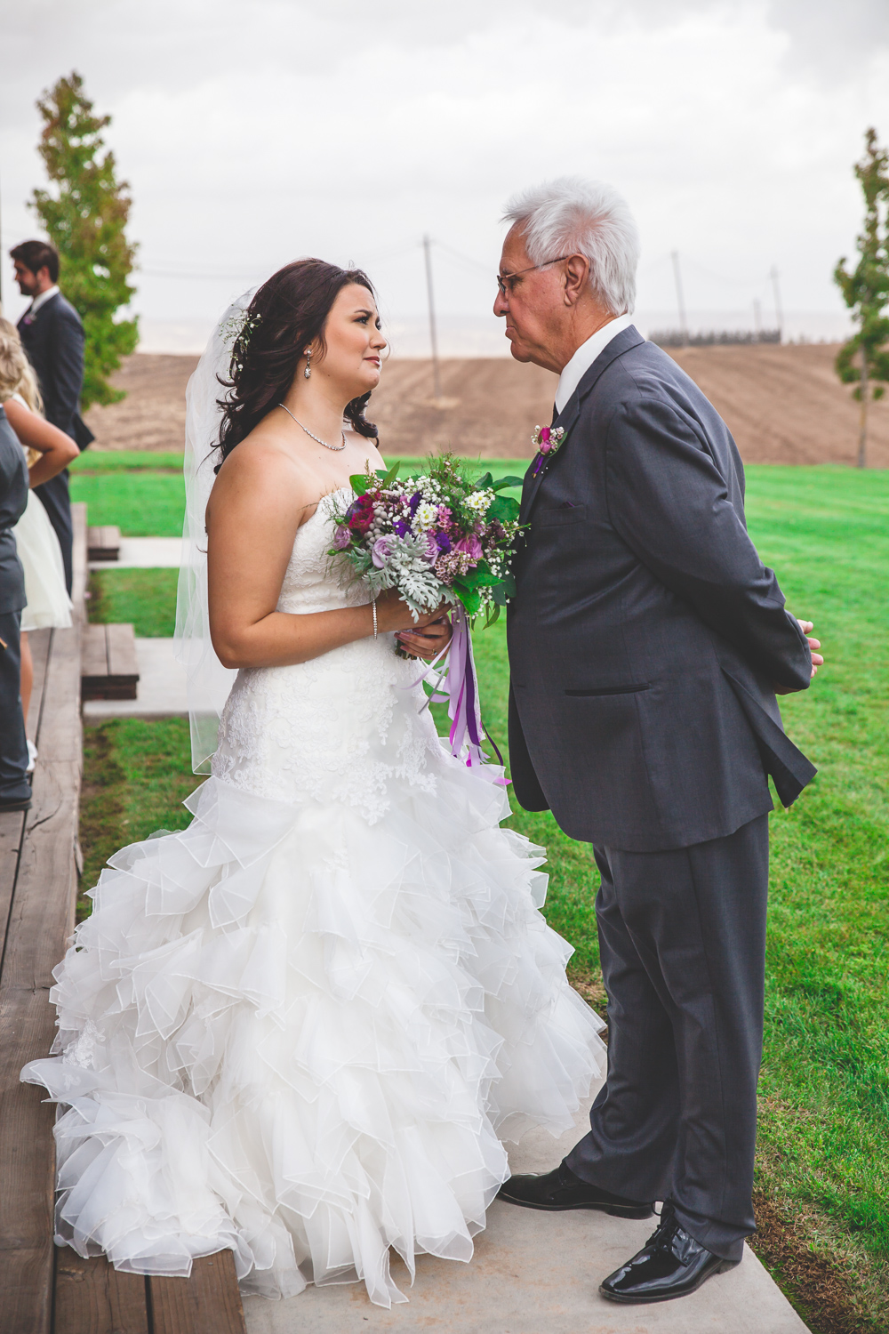 emotional bride and father of the bride