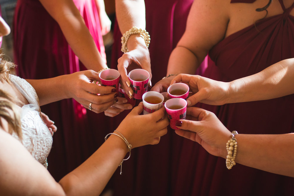 bridesmaids taking shots