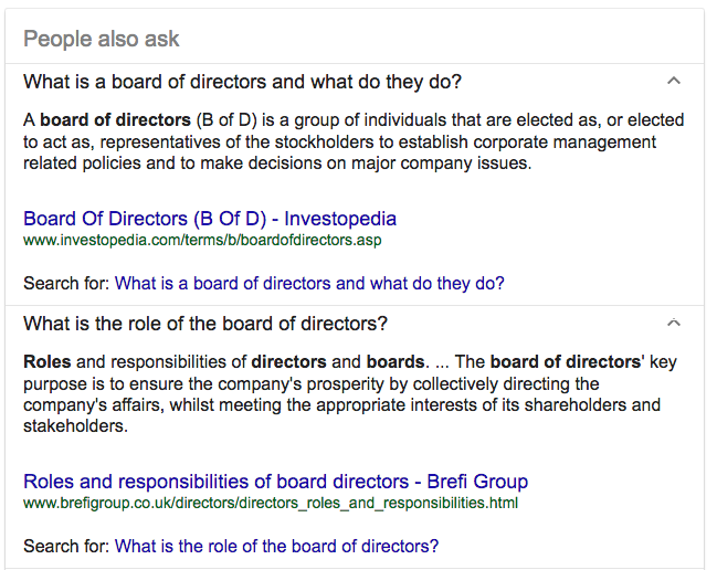 "Google results for ""Board of Directors"" search."