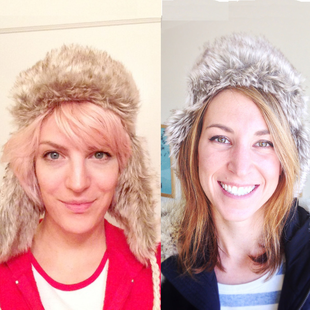 Two UI/UX designers in fur hats, Jenni Leder (left) and Alli Dryer.